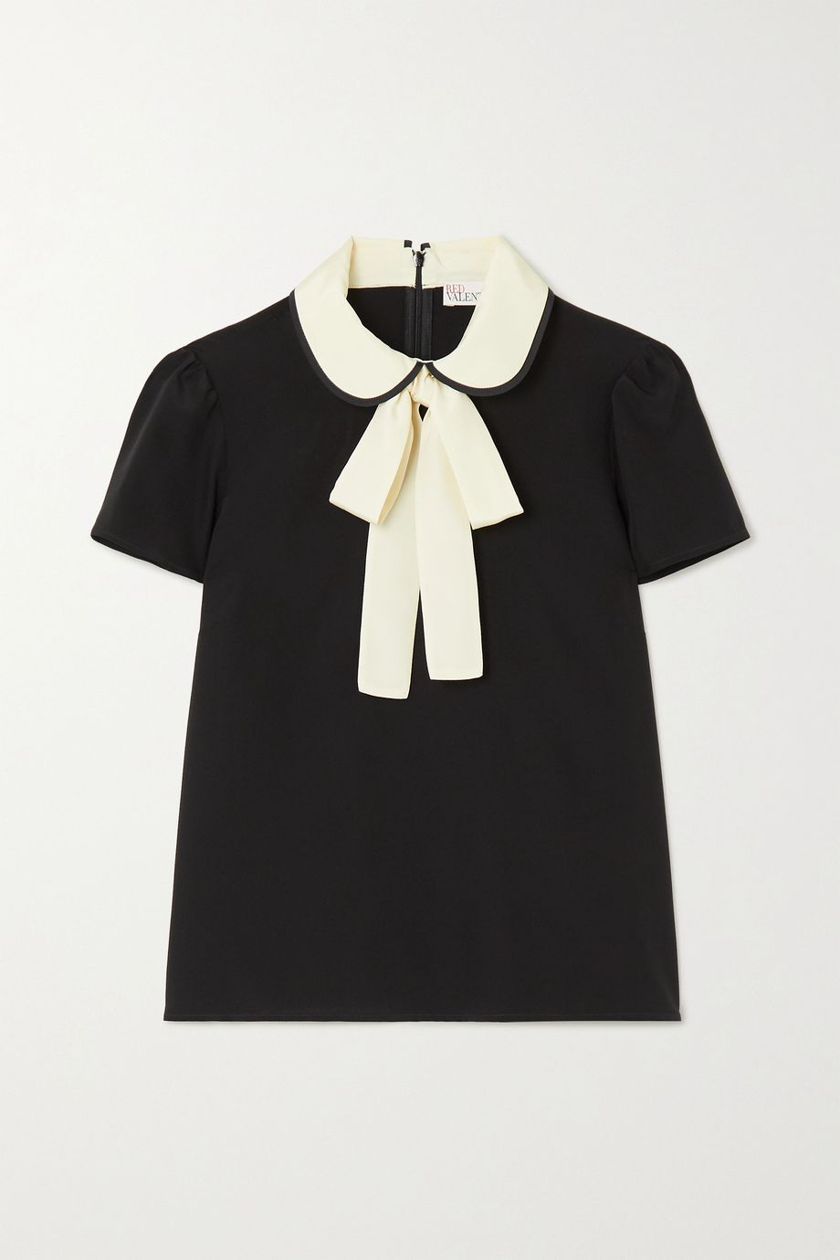 REDValentino Two-tone pussy-bow silk blouse
