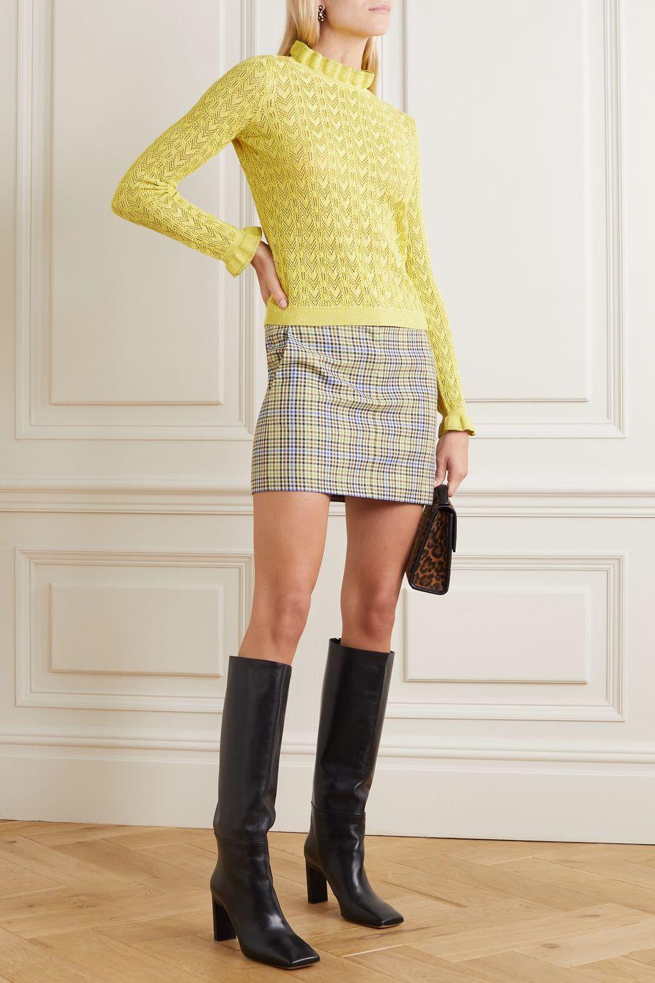 REDValentino Ruffled metallic pointelle-knit sweater