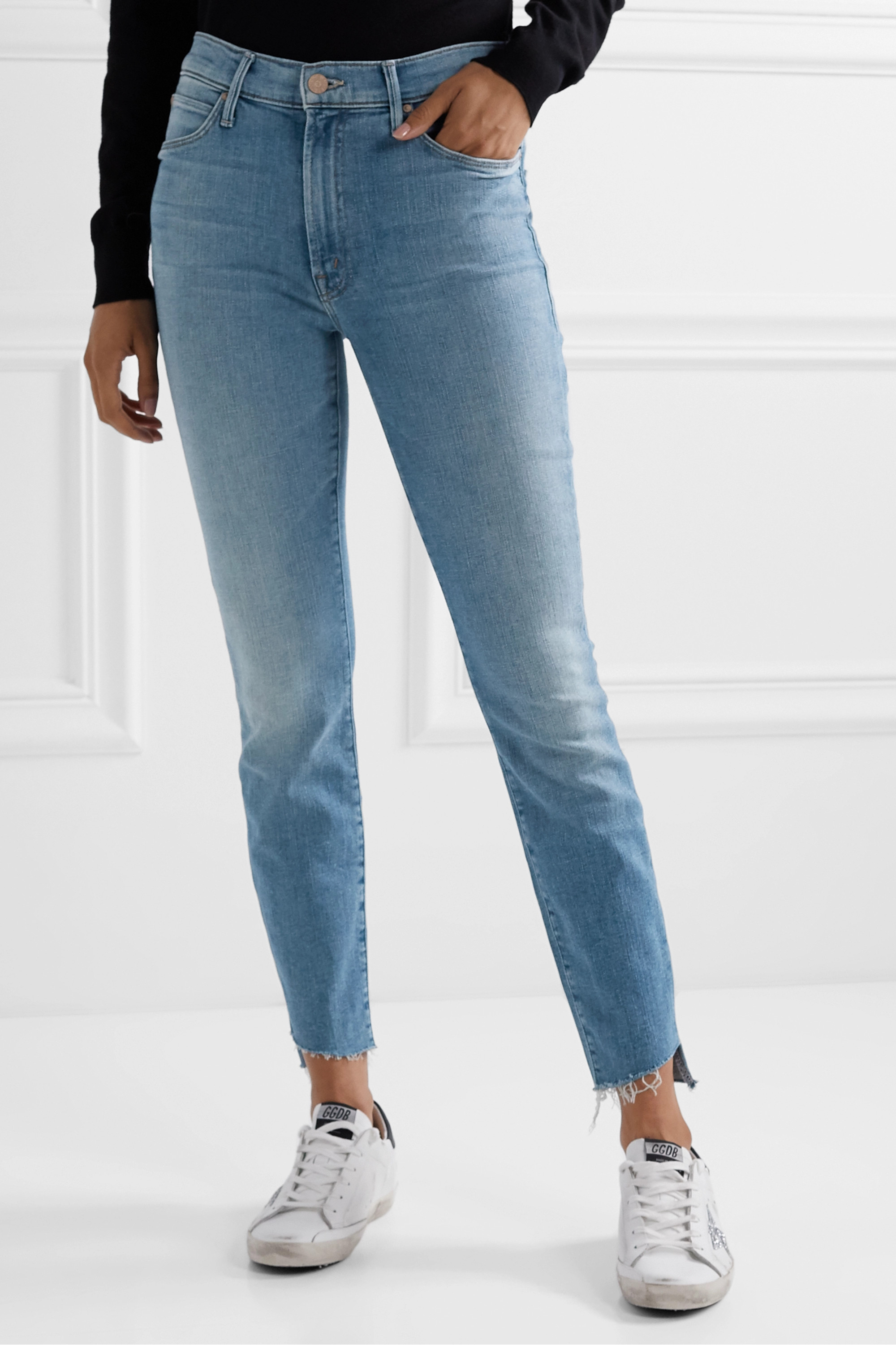MOTHER The Stunner cropped distressed high-rise skinny jeans