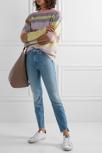 Mother Jeans The Stunner cropped distressed high-rise skinny jeans