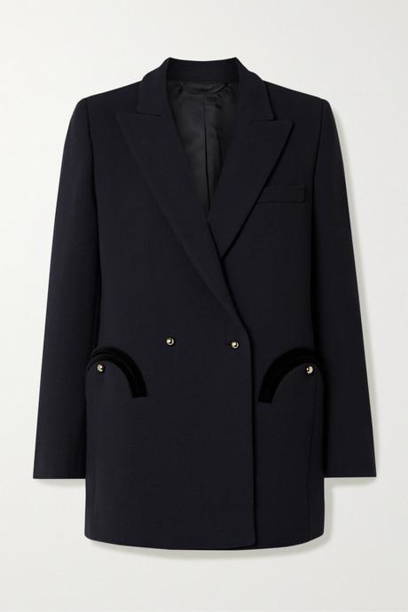 Midnight blue Resolute Everyday double-breasted velvet-trimmed wool-crepe blazer   Blazé Milano 1Rlupc