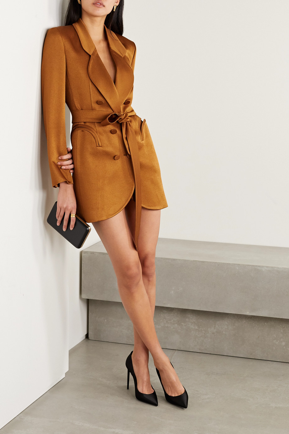 Blazé Milano Sunshine belted double-breasted satin mini dress