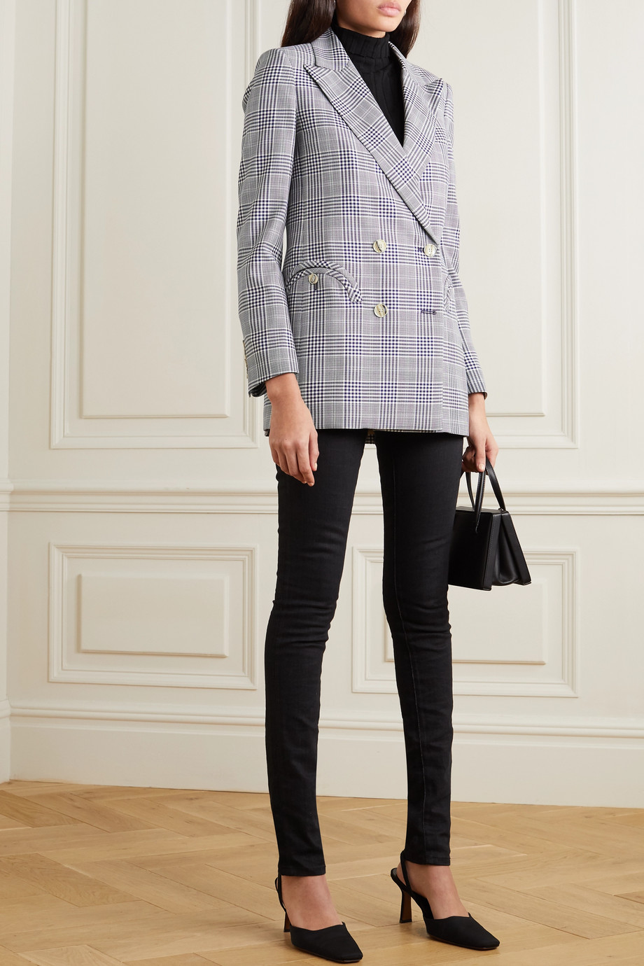Blazé Milano Everyday double-breasted Prince of Wales checked wool blazer