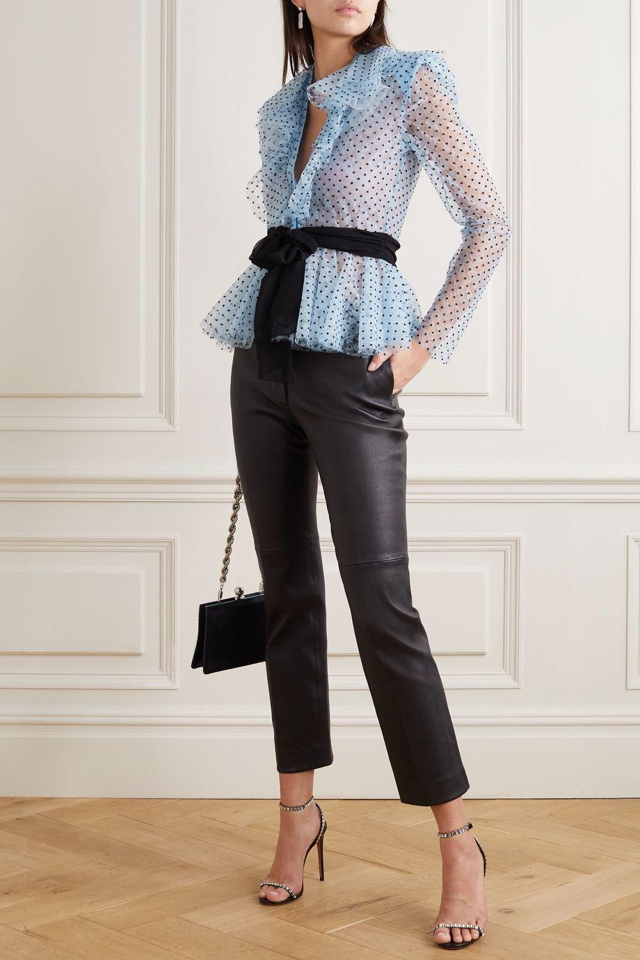 Philosophy di Lorenzo Serafini Belted ruffled flocked lace blouse