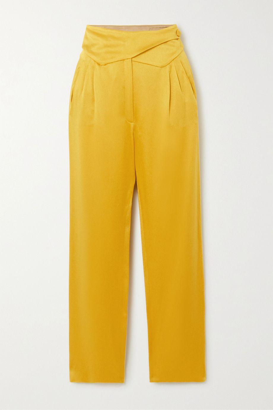 Blazé Milano Basque wrap-effect satin straight-leg pants