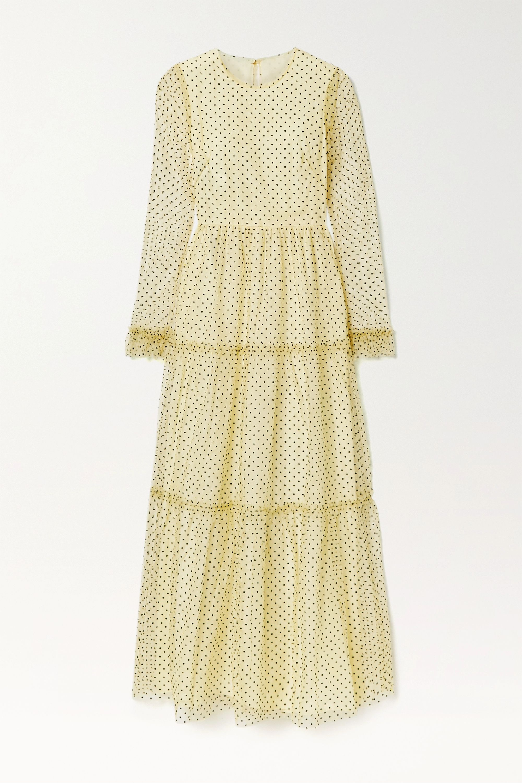 Philosophy di Lorenzo Serafini Tiered polka-dot flocked lace maxi dress