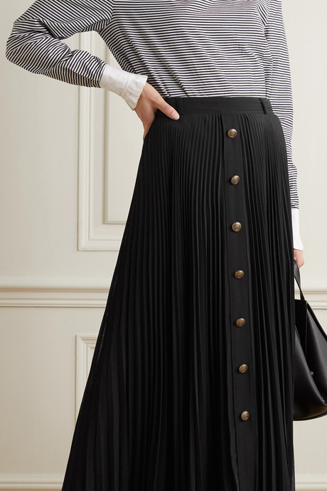 Pleated georgette maxi skirt