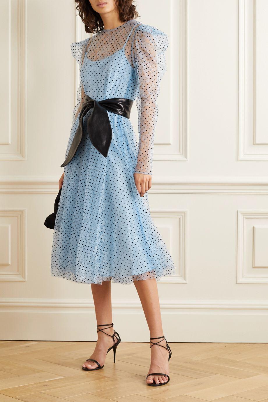 Philosophy di Lorenzo Serafini Polka-dot flocked lace midi dress
