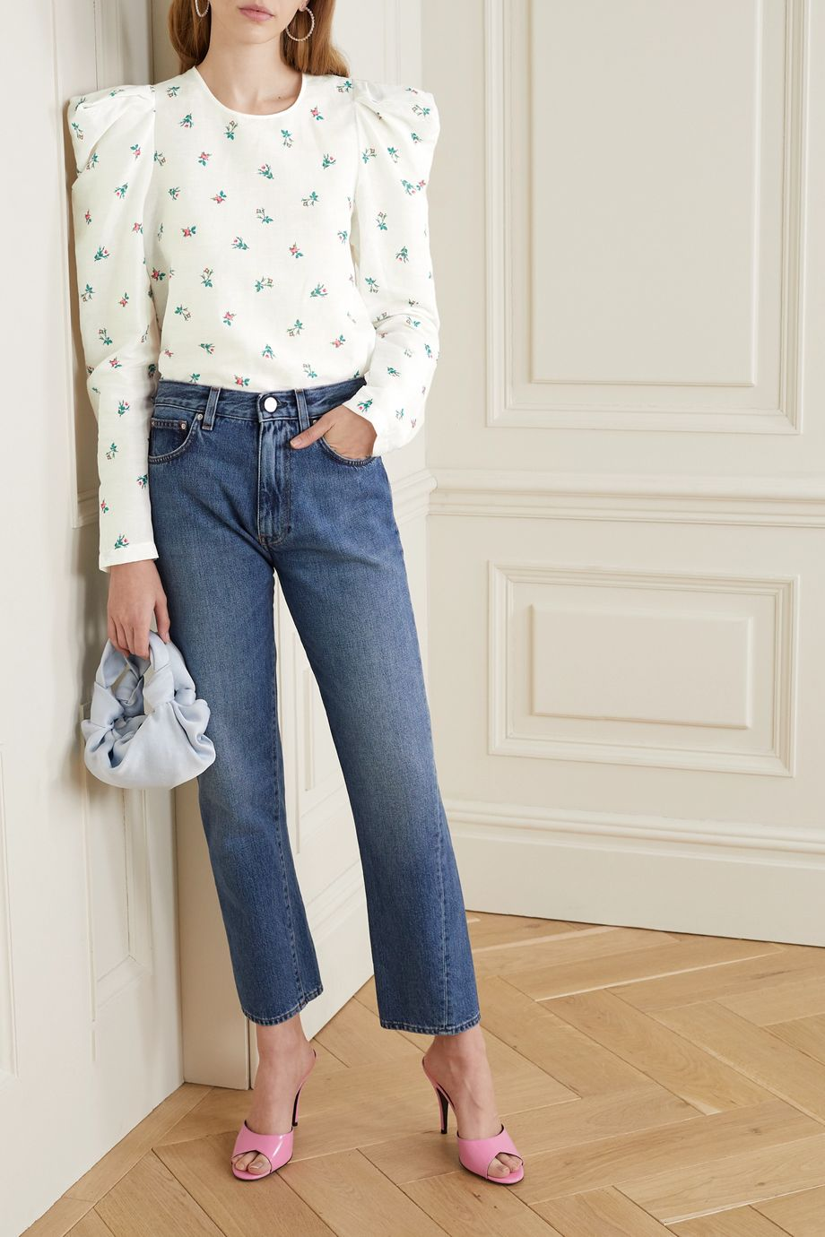 Philosophy di Lorenzo Serafini Floral-print linen and cotton-blend top