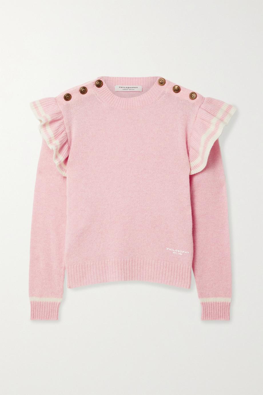 Philosophy di Lorenzo Serafini Ruffled striped cashmere sweater