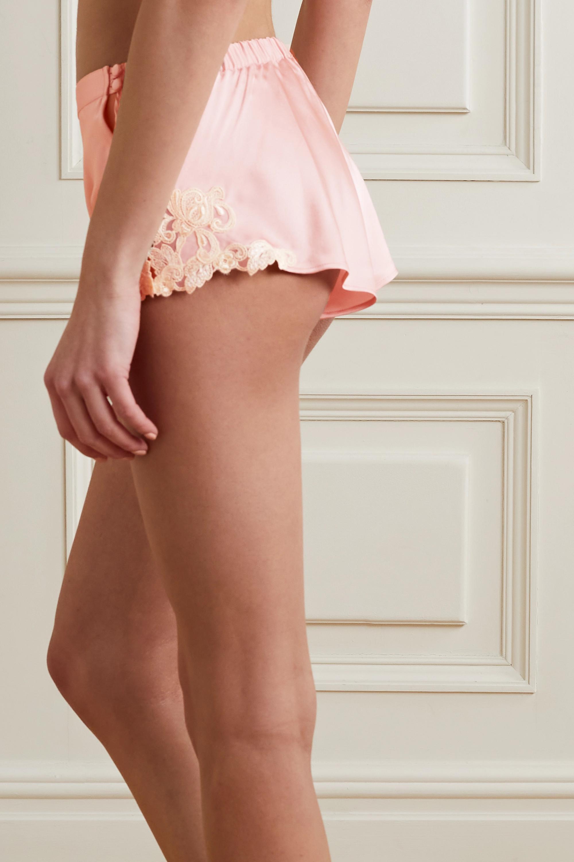 La Perla Maison embroidered lace-trimmed silk-blend satin shorts