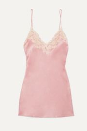 La Perla Maison embroidered lace-trimmed silk-blend satin chemise