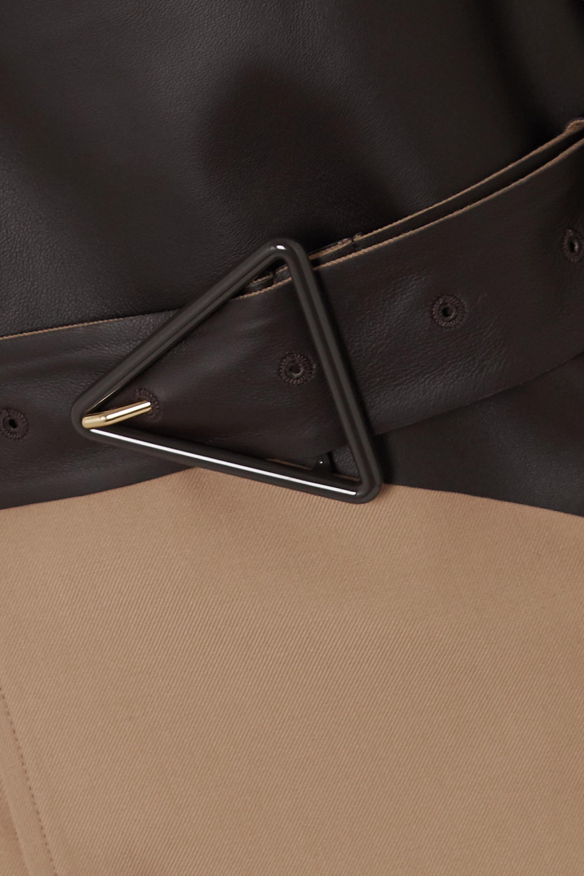 Bottega Veneta Trench-coat à double boutonnage en gabardine de laine et en cuir à ceinture