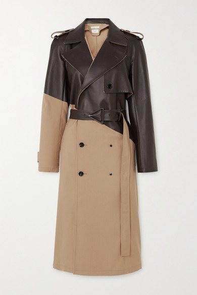 Bottega Veneta Belted Double-breasted Wool-gabardine And Leather Trench Coat In Beige