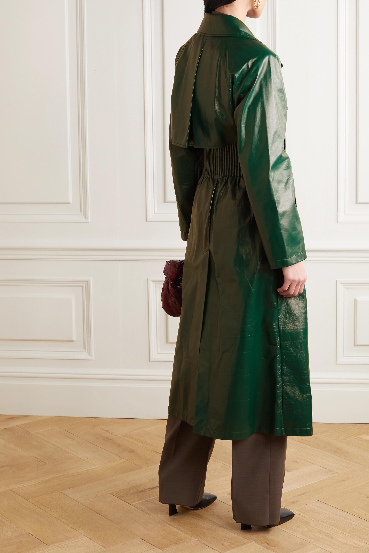 Bottega Veneta Double-breasted shirred glossed-leather trench coat
