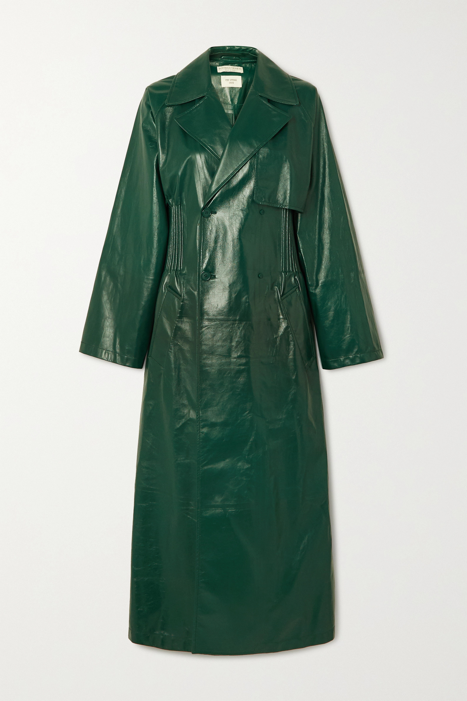 Bottega Veneta Doppelreihiger Trenchcoat aus Glanzleder mit Raffungen