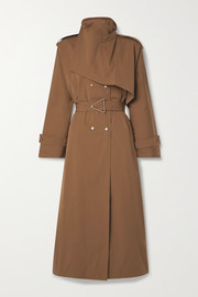 Belted double-breasted cotton-blend gabardine trench coat