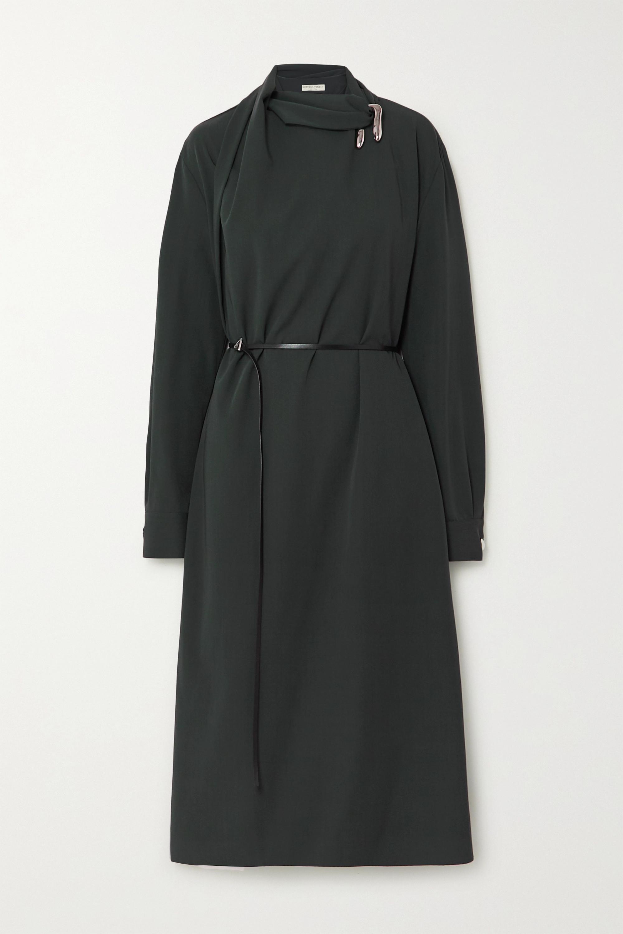 Bottega Veneta Belted embellished wool wrap dress