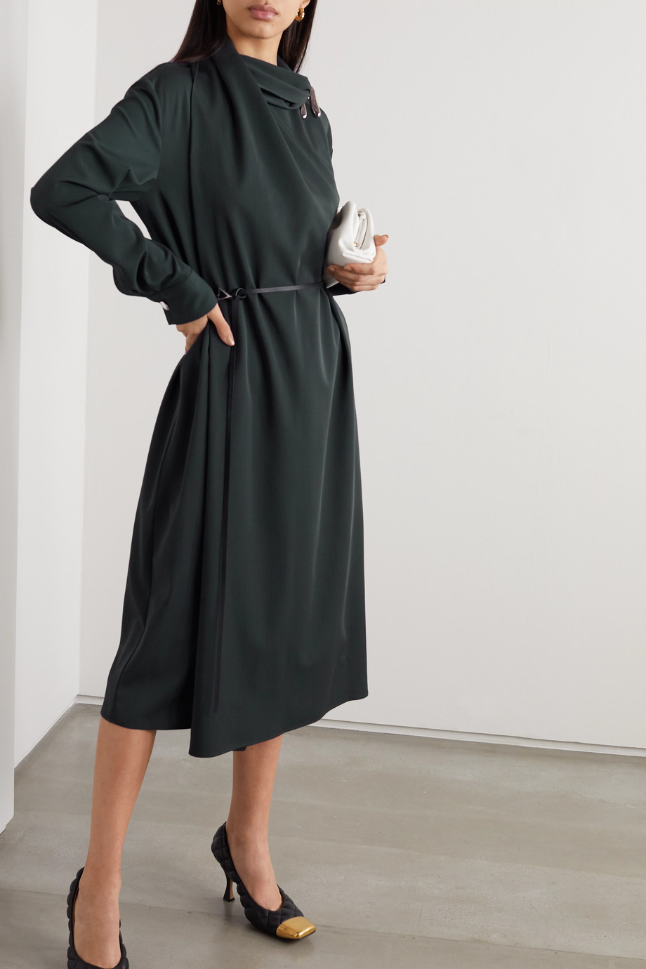 Bottega Veneta Belted embellished wool wrap dress