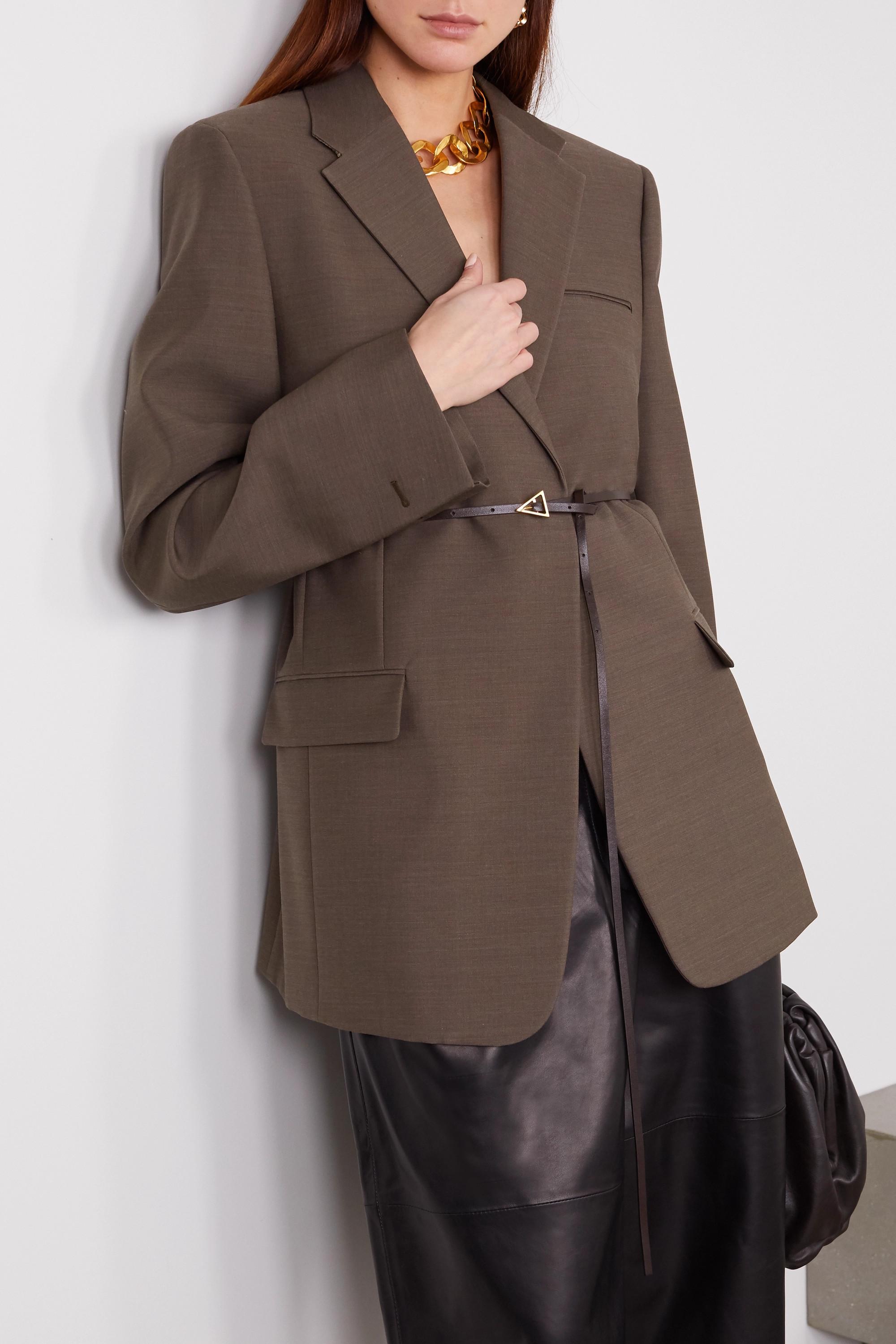 Bottega Veneta Blazer oversize en laine chinée à ceinture
