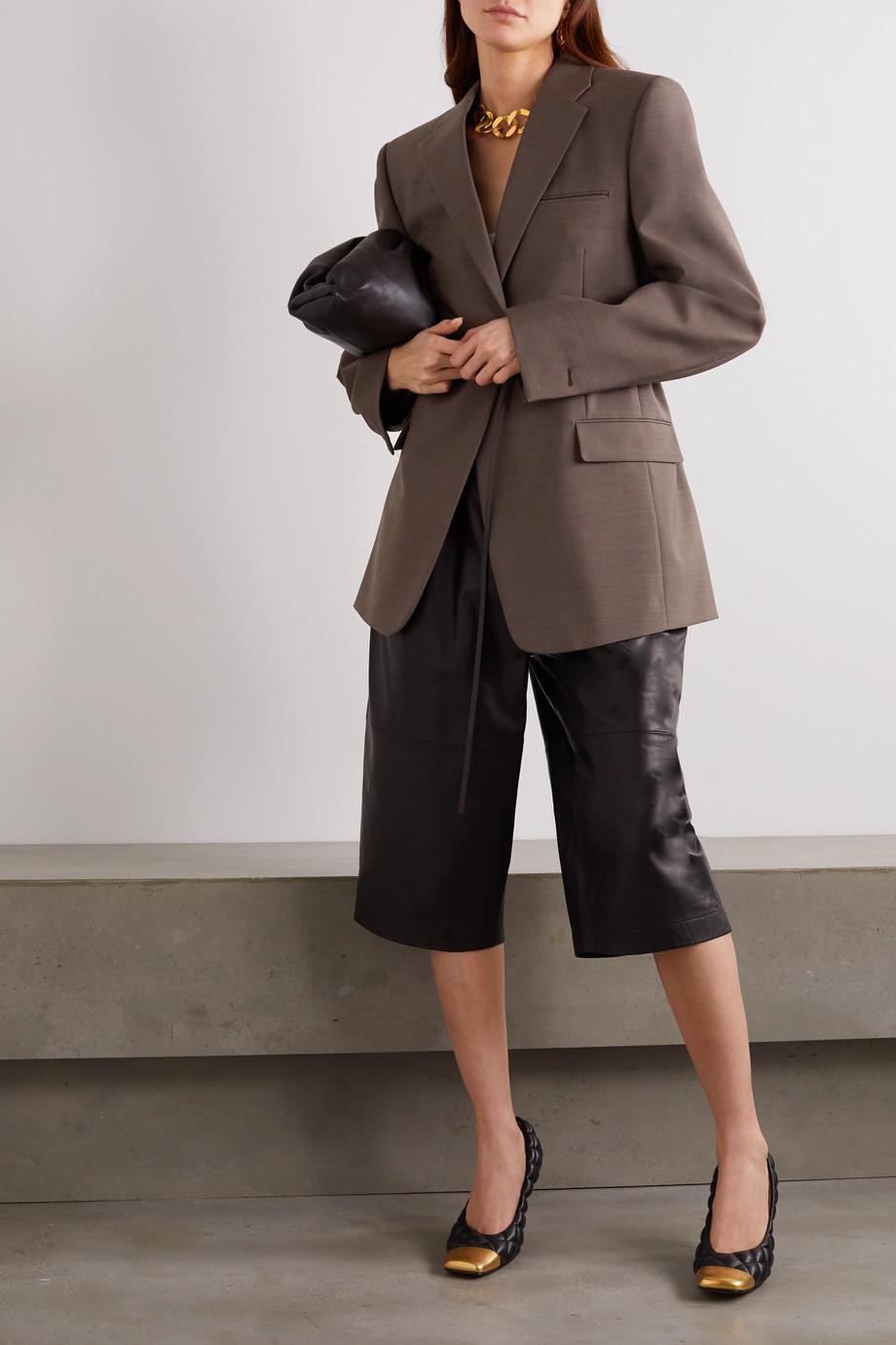 Bottega Veneta Oversized belted mélange wool blazer