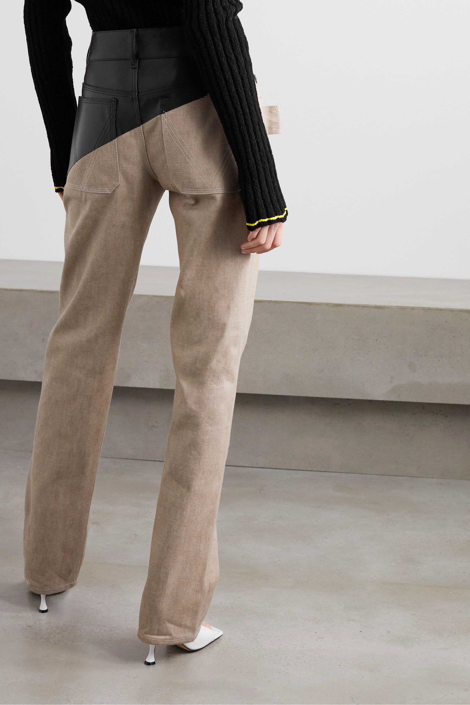 Bottega Veneta Leather-paneled high-rise straight-leg jeans