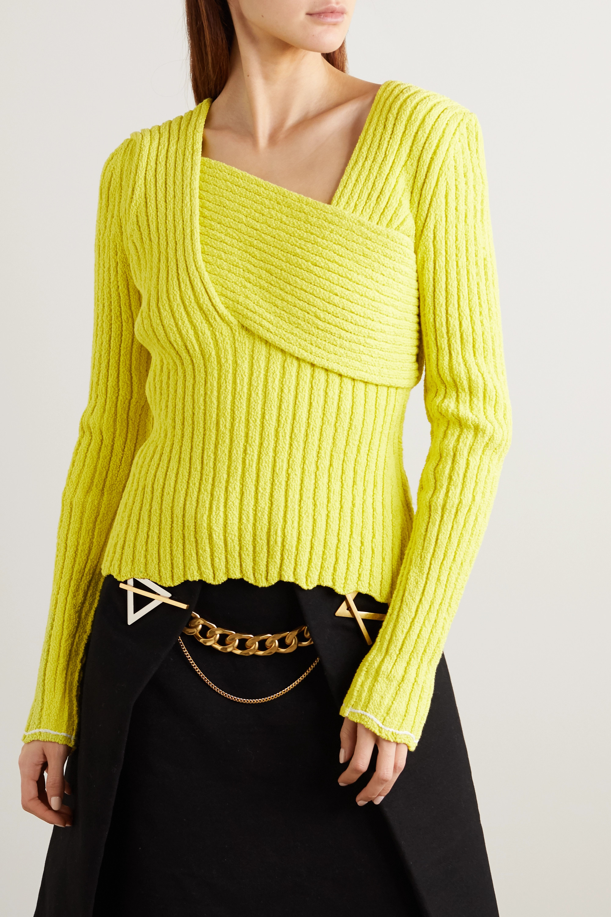Bottega Veneta Paneled ribbed cotton-blend bouclé sweater