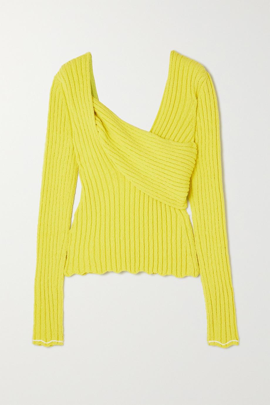 Bottega Veneta Paneled ribbed cotton-blend bouclé sweater