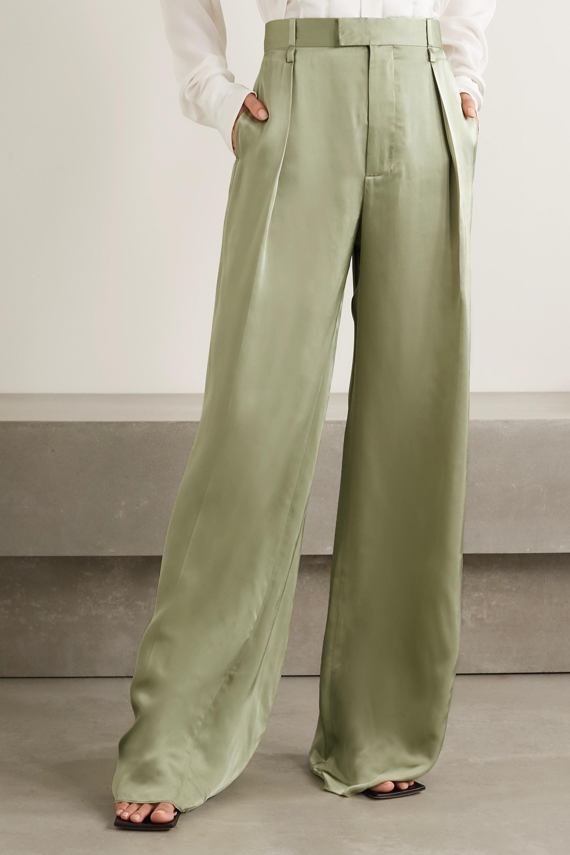 Bottega Veneta Pantalon large en serge satinée à pinces