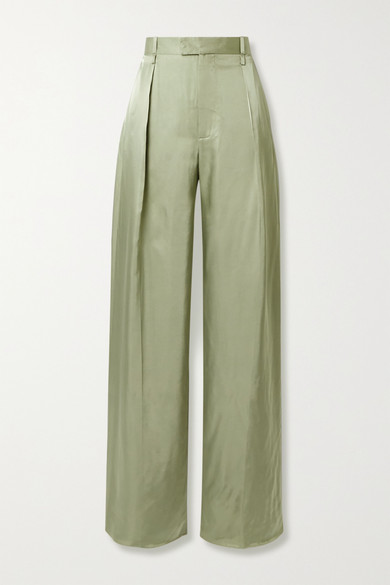 Bottega Veneta High-rise Wide-leg Satin-faille Trousers In Army Green