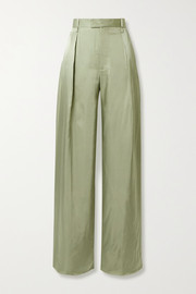 Pleated satin-twill wide-leg pants