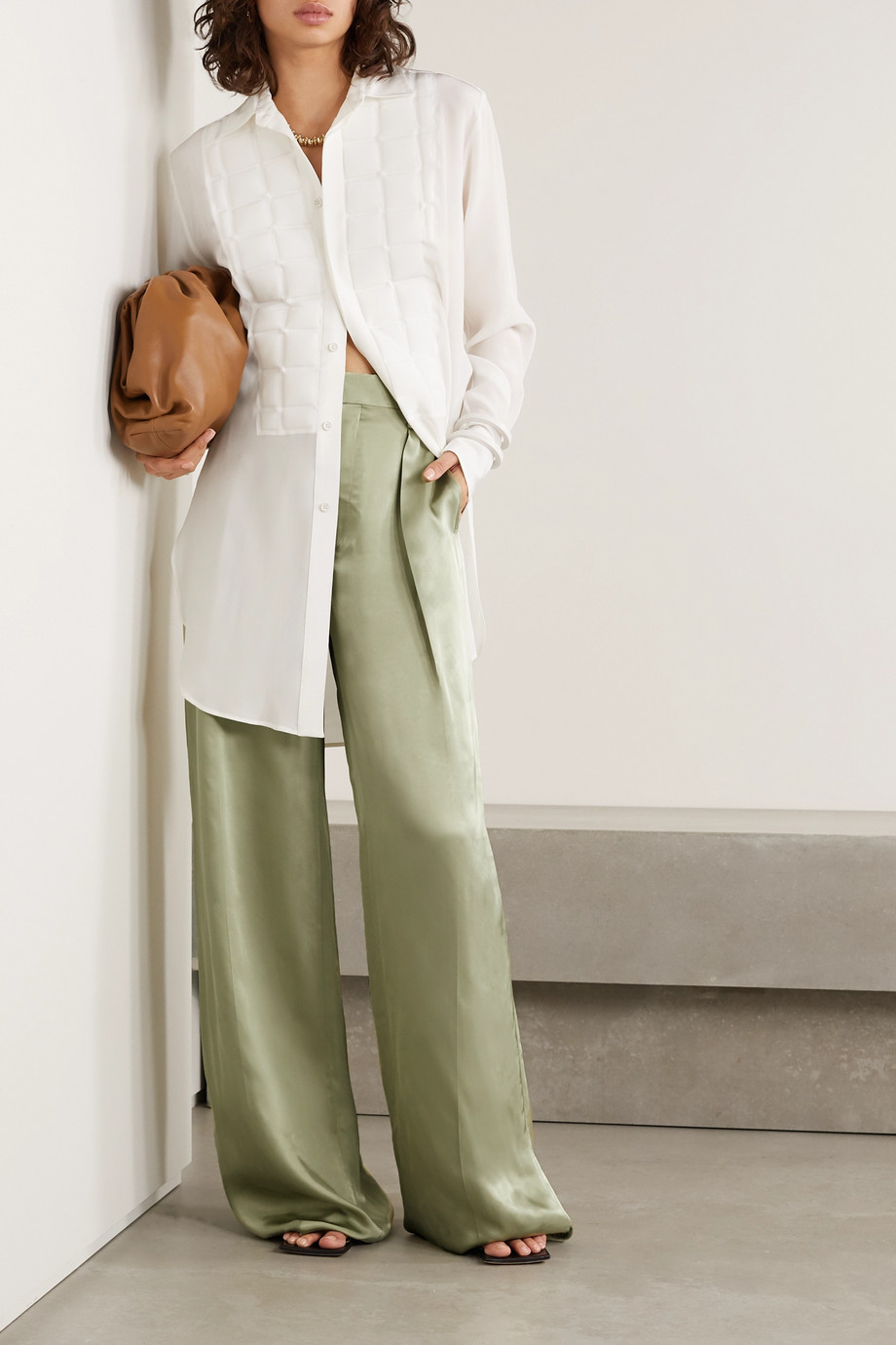 Bottega Veneta Pleated satin-twill wide-leg pants