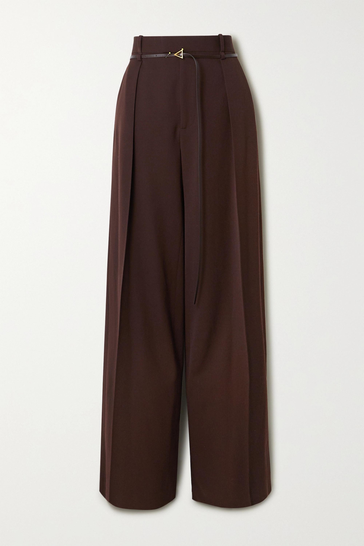 Bottega Veneta Belted pleated wool-twill wide-leg pants