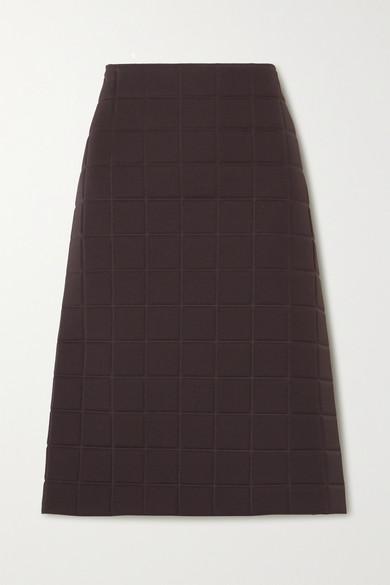 Bottega Veneta Quilted Technical Pencil Skirt In Brown