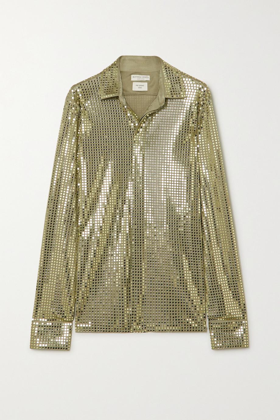Bottega Veneta Sequin-embellished satin-jersey shirt