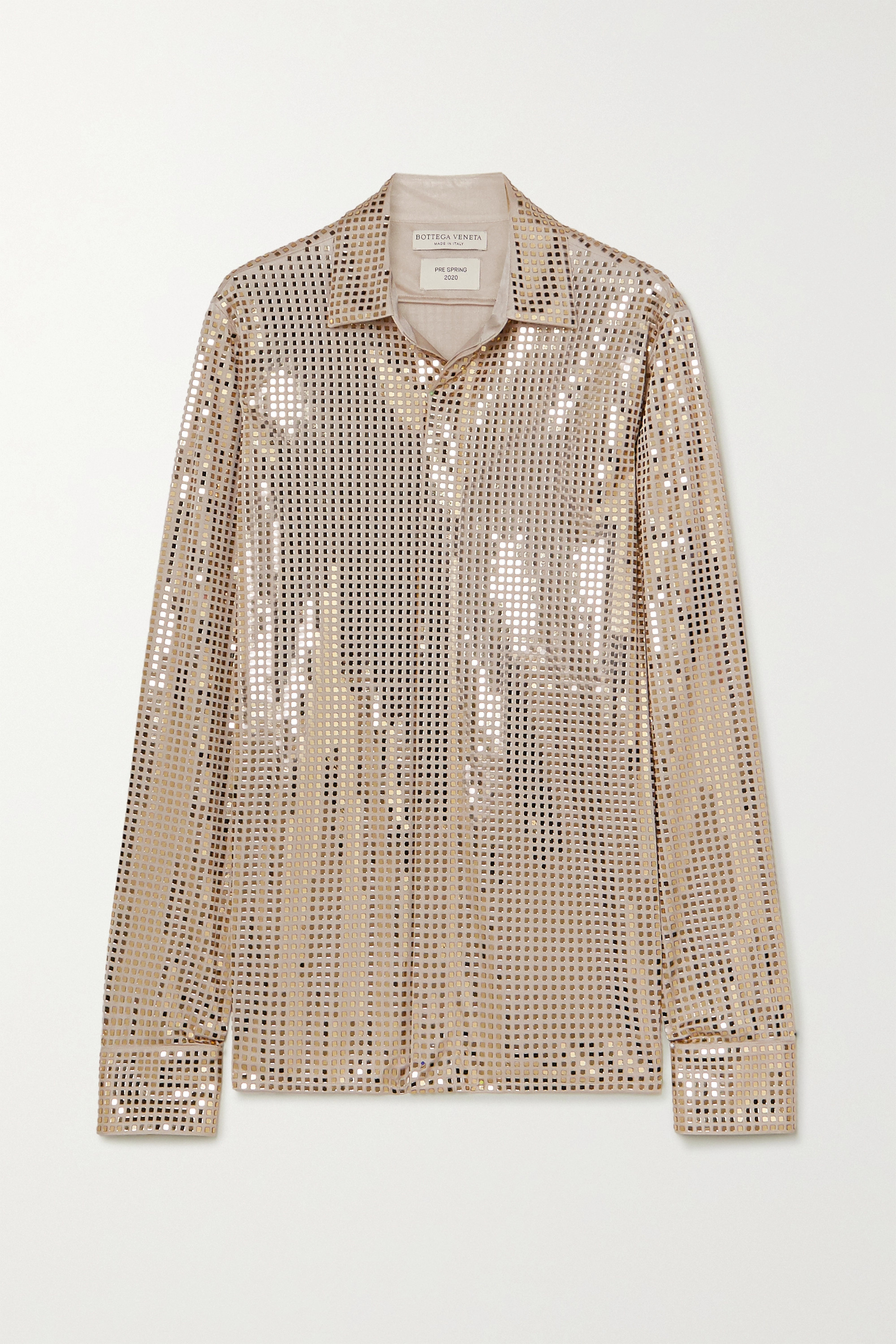 Bottega Veneta Sequin-embellished satin-jersey shirt