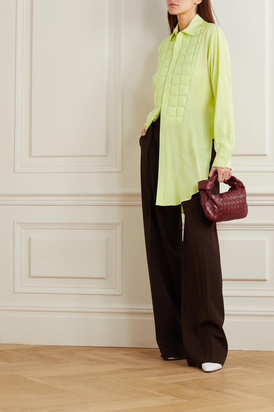 Bottega Veneta Quilted silk crepe de chine blouse
