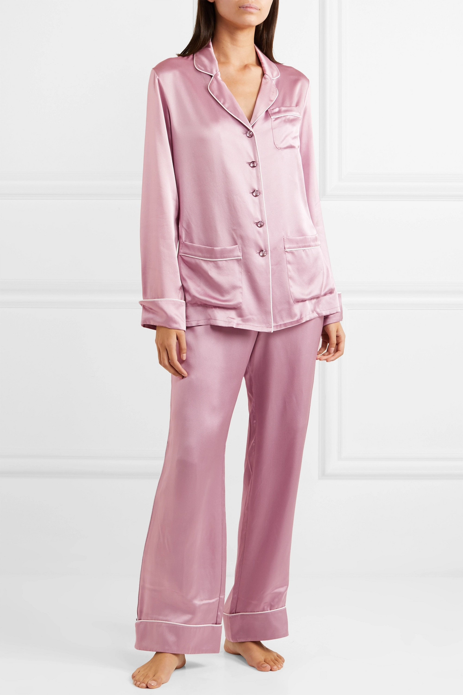 Olivia von Halle Coco crystal-embellished silk-satin pajama set