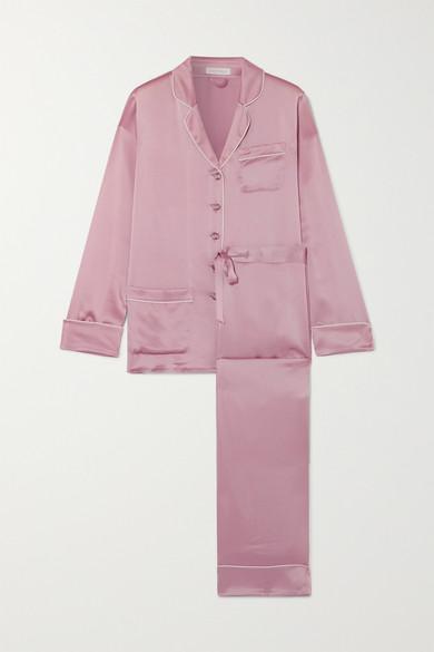Coco Crystal Embellished Silk Satin Pajama Set by Olivia Von Halle