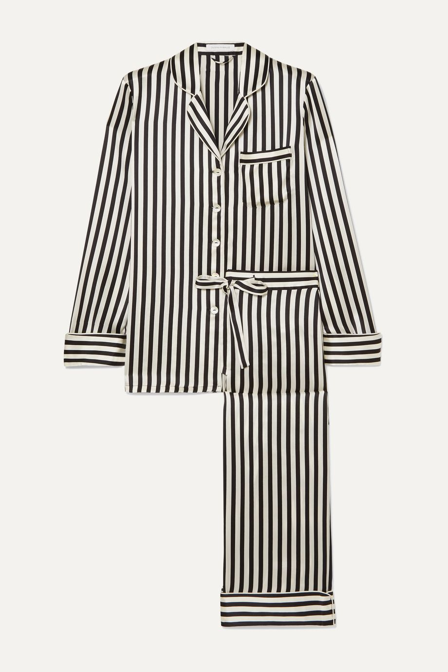 Olivia von Halle Lila striped silk-satin pajama set