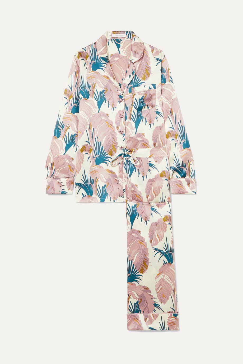 Olivia von Halle Lila crystal-embellished printed silk-satin pajama set