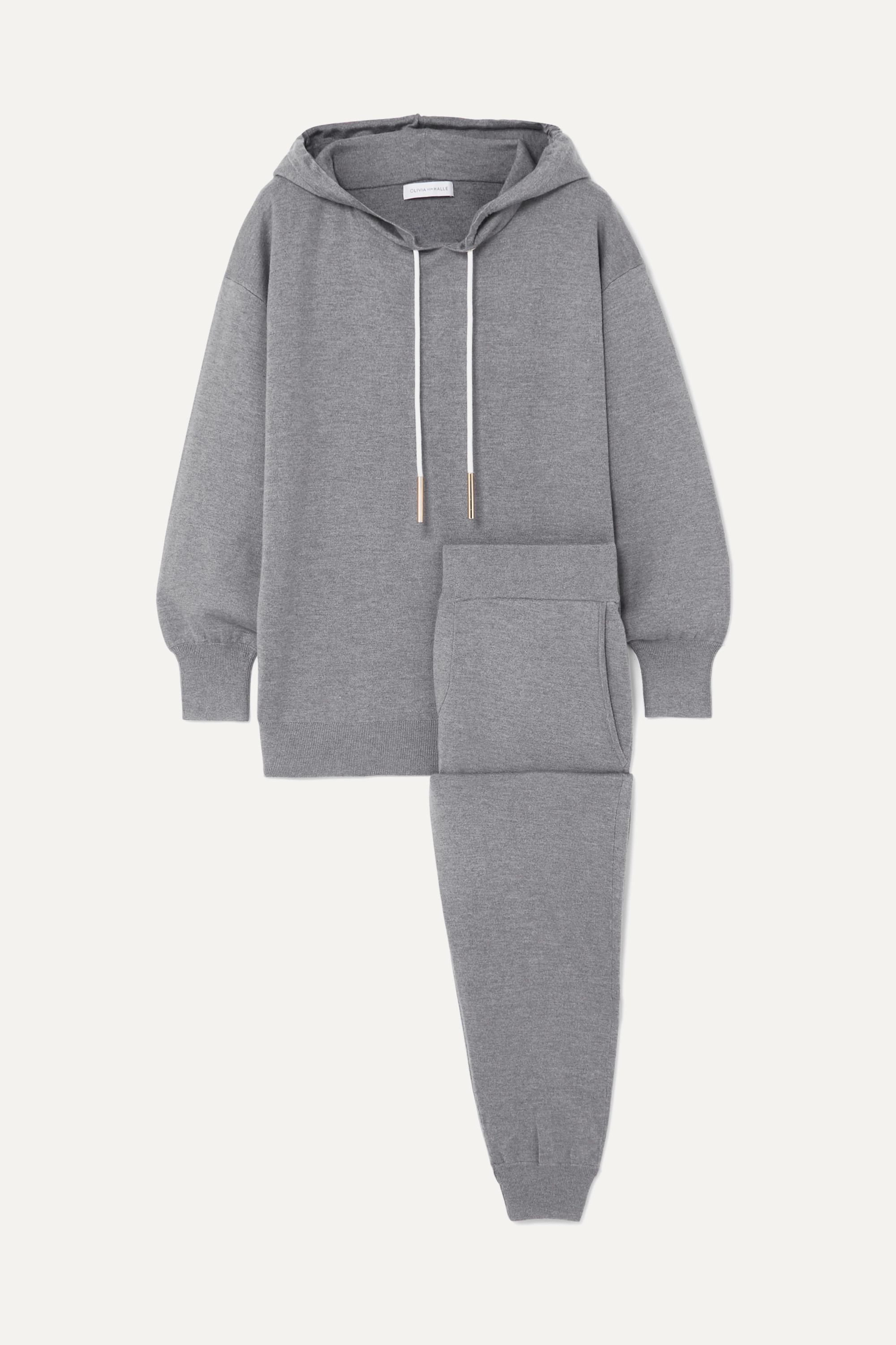 Olivia von Halle - Gia London silk and cashmere-blend hoodie and track pants set
