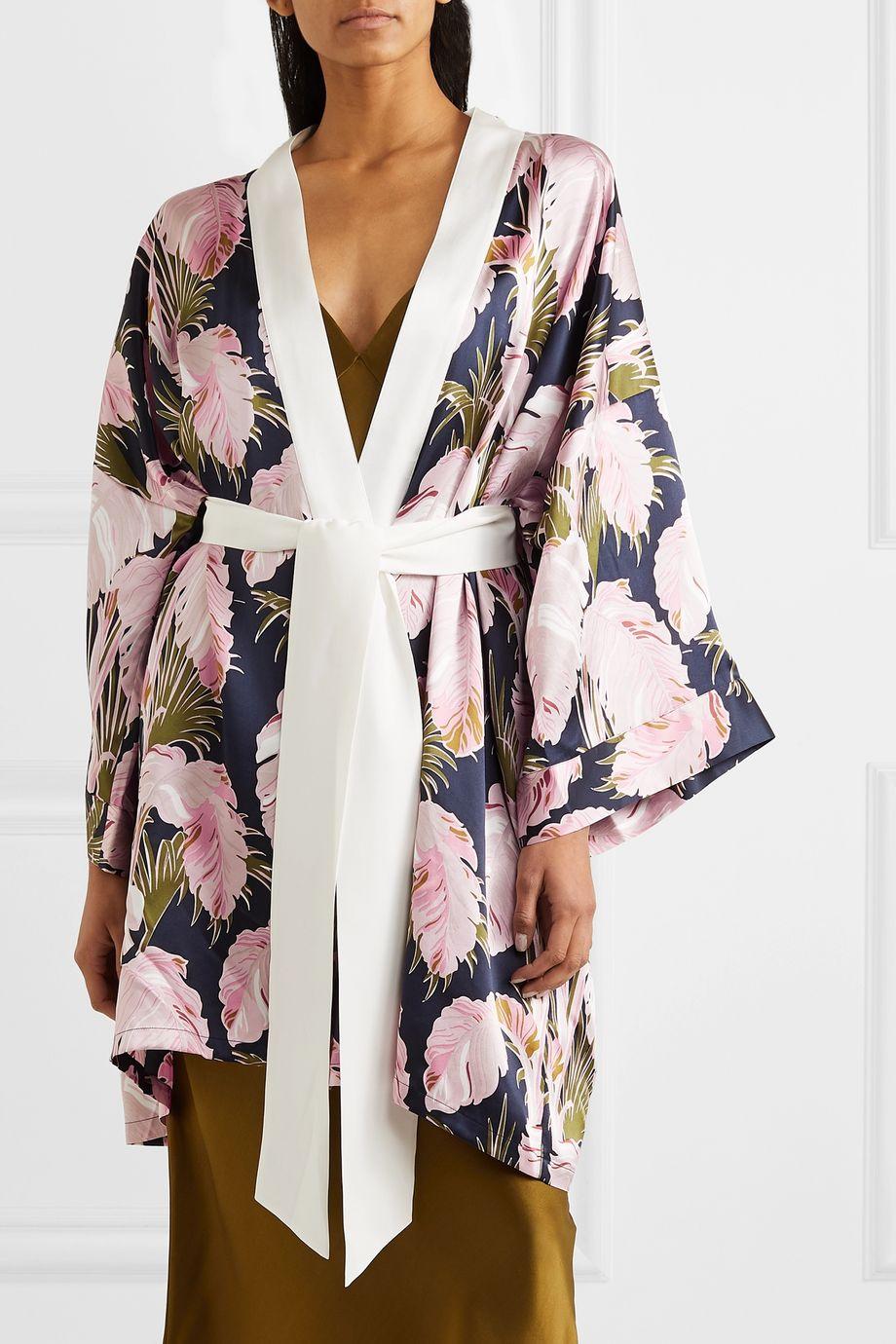 Olivia von Halle Mimi printed silk-satin robe