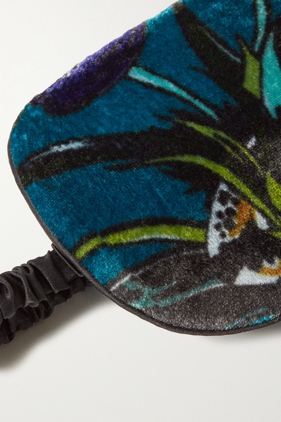 Olivia von Halle Reversible floral-print silk-velvet and satin eye mask