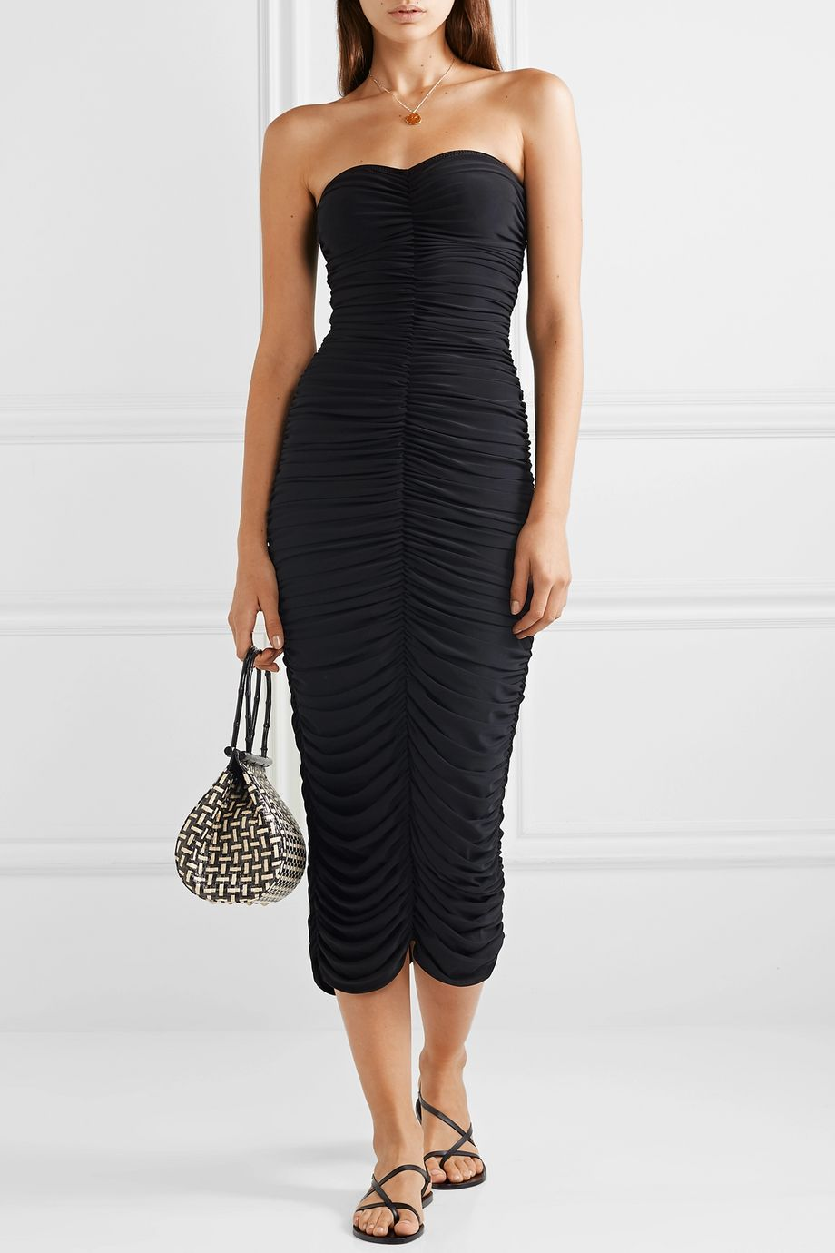 Norma Kamali Slinky strapless ruched stretch-jersey midi dress