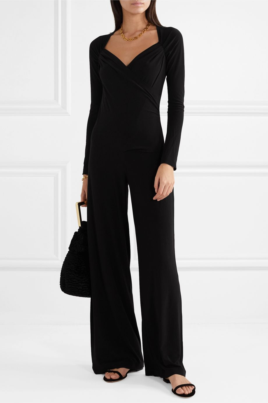 Norma Kamali Wrap-effect stretch-jersey jumpsuit