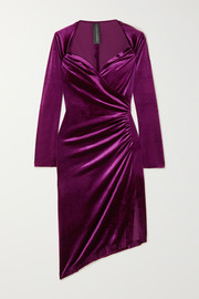 Asymmetric wrap-effect ruched stretch-velvet dress