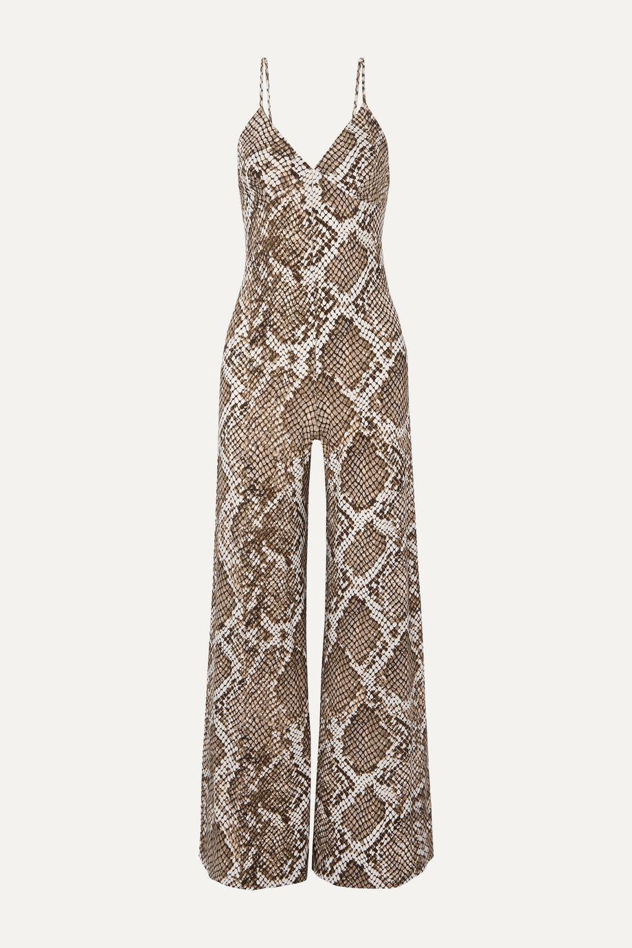 Norma Kamali Combi-pantalon en jersey stretch imprimé serpent