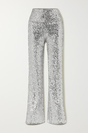 Sequined jersey flared pants