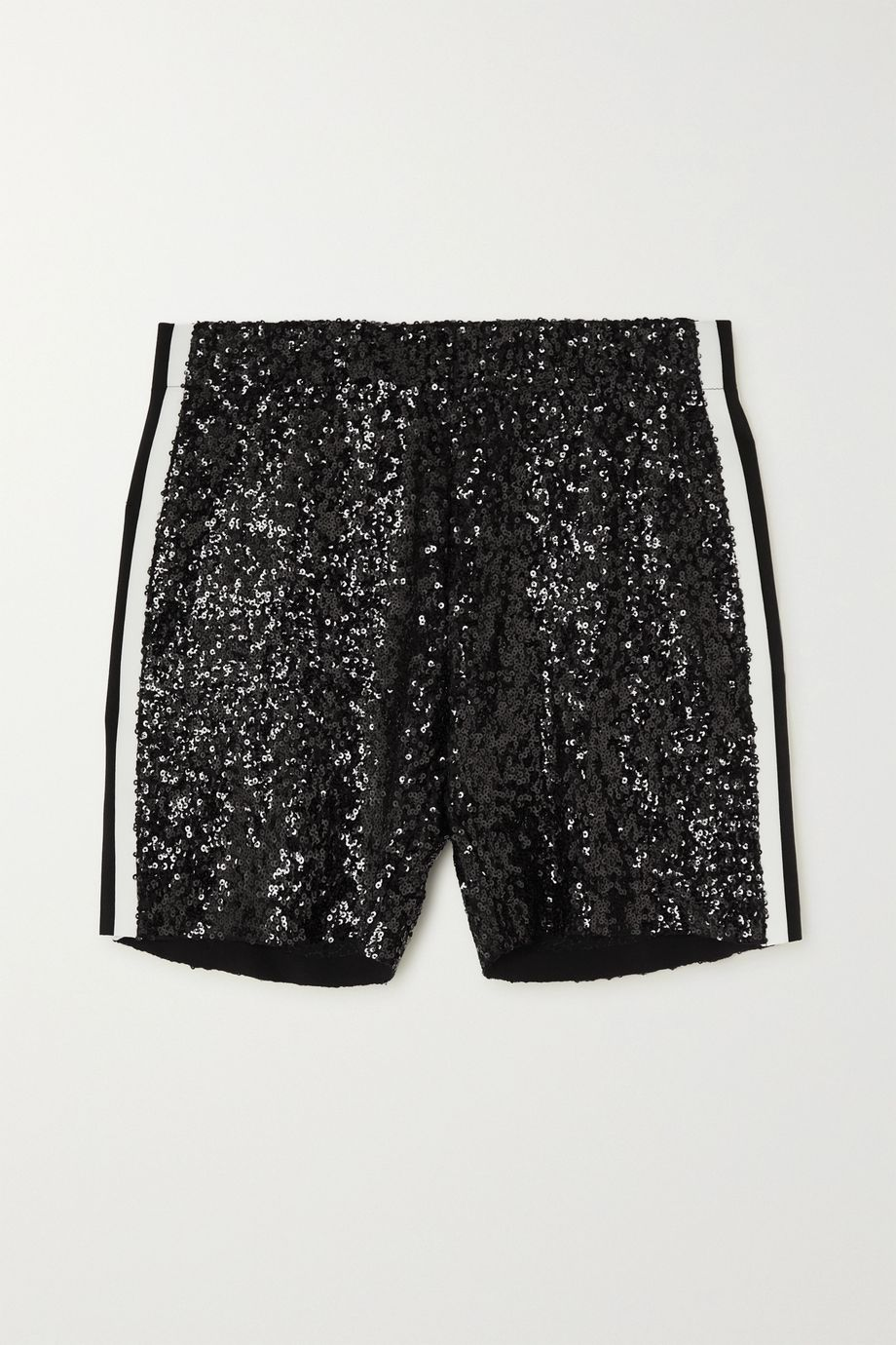 Norma Kamali Striped sequined tulle shorts